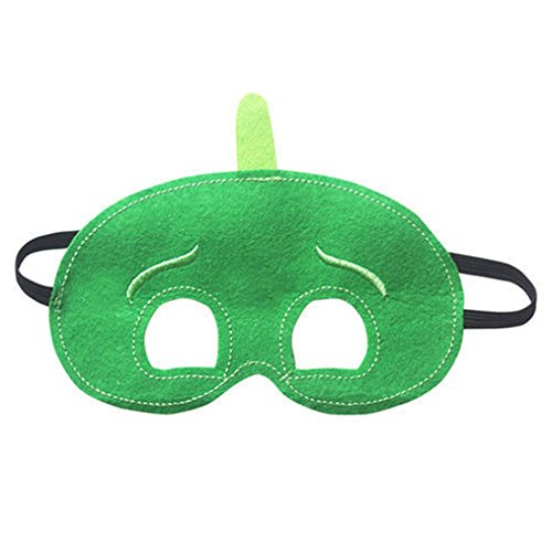 [NEW Superhero PJ Masks Cape Mask Set Owlette Catboy Cosplay Kids Costume Party \ Green Gekko - Mask] (Girls Superhero Costumes Homemade)