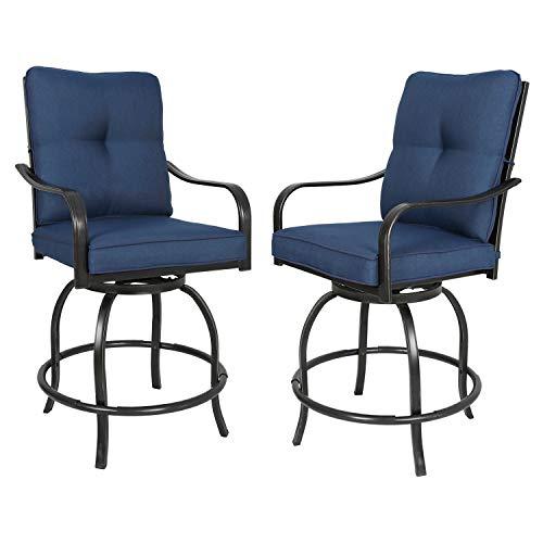Ulax furniture Outdoor 2-Piece Counter Height Swivel Bar Stools High Patio Dining Chair Set, Nav ...