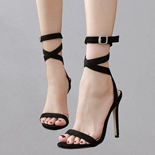 Moda Altos y de Europea Las UE 38 Temperamento 36 Parte Sandalias Tiras Tacones tacón Dedos YMFIE de EU de Elegante transversales Zapatos Las Terciopelo Damas Alto X6zxXq0H