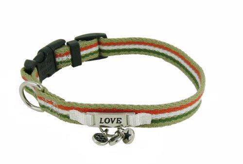 Charming Stripes Orange Cotton Dog Collar - 12 to 18 in. (Charming Stripe Collar)