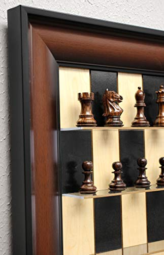 Rosewood Supreme Chess Pieces on Black Maple Vertical Straight Up Chess Set (Straight Up Chess Board)