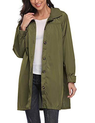 Kikibell Women's Lightweight Waterproof Raincoat Quick-Drying Hooded Jacket S Army Green