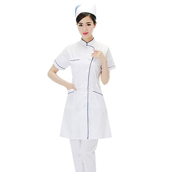 ESENHUANG Abrigos De Laboratorio Blanco Uniformes Médicos Servicios De Enfermería Protección De La Ropa Ropa Médica Hospitalaria Cuello De Pie Un Solo ...