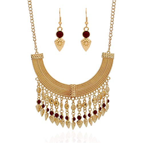 Ethnic Style Necklace - Thkmeet Fashion Bib Bohemian Statement Coin Necklace and Earrings Punk Ethnic Style Jewelry Set for Women