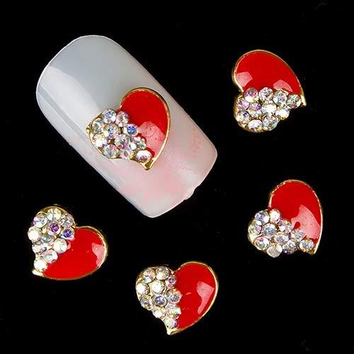 YuYe 10Pcs Red Love Heart Glitter Rhinestones Alloy 3D Nail Sticker Art DIY Decor (Art Nail Cc 3d)