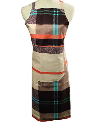 Modern Nerd Costume (Coosin Fashionable Plaid printing Cotton and practical Chef Apron with Double pockets Unisex Durable Comfortable Machine Washable and Easy Care Front Applies to Kitchen and Gardening (1, Beige))