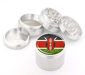 Kenya Flag Design Medium Size 4Pcs Aluminum Herbal or Tobacco Grinder # 50M050416-28