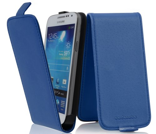 Cadorabo Case Works with Samsung Galaxy S4 Mini in Brilliant Blue – Flip Style Case Made of Smooth Faux Leather – Wallet Etui Cover Pouch PU Leather Flip -