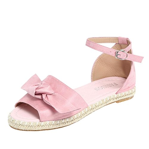 Bow Tie Open Toe (Fiaya 2018 Summer Women Solid Color Flock Peep Toe Bow Hasp Flat Sandals Classic Espadrille Shoes (US:9.5, Pink))