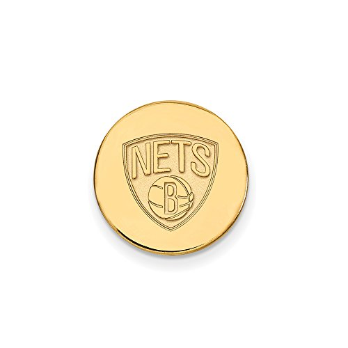 NBA Brooklyn Nets Lapel Pin in 14K Yellow Gold by LogoArt