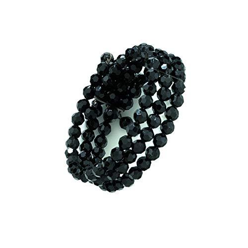 1928 Jewelry Black-Tone Black 3-Row Beaded Coil - Coil 3 Row Bracelet