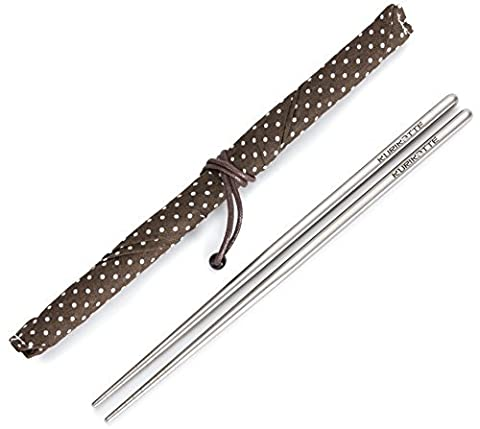 Square Titanium (Ti) Chopsticks Extra Strong Light as a Feather Food Grade with Stylish Carrying Case. Perfect for Camping Picnics Outdoors and Elegant Dining. (1 - Felt Tip Font