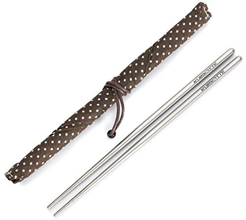 Square Titanium (Ti) Chopsticks Extra Strong Light as a Feather Food Grade with Stylish Carrying Case. Perfect for Camping Picnics Outdoors and Elegant Dining. (1 Pair) (Lightest Frame Titanium)
