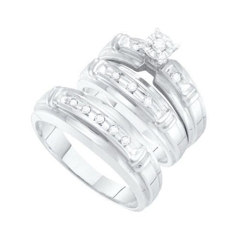 Sizes - L = 9.5, M = 10.5 - 10k White Gold Diamond Mens and Ladies Couple His & Hers Trio 3 Three Ring Bridal Matching Engagement Wedding Ring Band Set - Solitaire Setting w/ Pave Set Round Diamonds - (1/5 cttw) - Please use drop down menu to select your  by Sonia Jewels