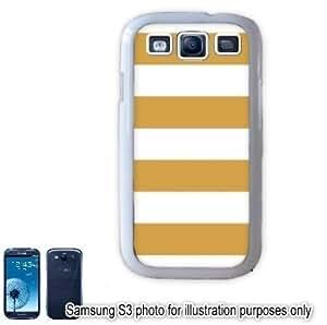 Gold Cabana Stripes Pattern Samsung Galaxy S3 i9300 Case Cover Skin White