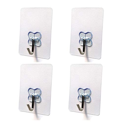 Nicedec 4-Pack 17.6 Pounds (Max) Heavy Duty Hooks Pack, Nail Free Transparent Ceiling Hook for Home and Office, No Surface Damage Wall Hooks, Waterproof and Oilproof [Not Recommended for Painted Wall] by Nicedec