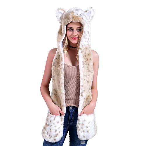 Snow Leopard Full Animal Hood Hat Cap Scarf Gloves Mittens Faux Fur Fleece Lined Interior Anime Spirit Paws Ears Zipper Furry -