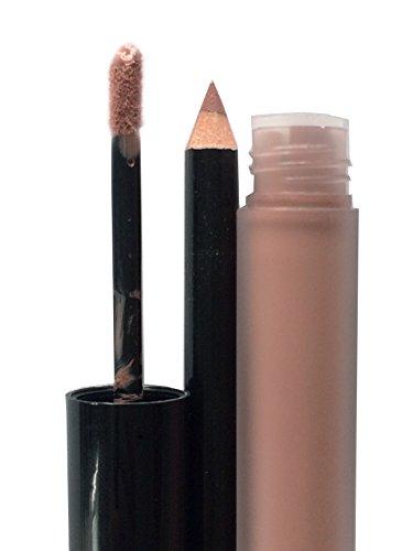 Full Size Long Lasting Natural Tones Mauve Lip Pro Matte Liquid Stick Lip Stain Lip Gloss Lip Liner Pencil Duo Set -