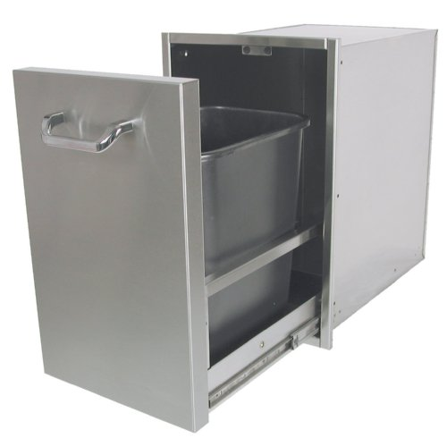 Solaire Pull-out Trash Enclosure for Built-in Islands, Stainless Steel (Quot Bin Pull)