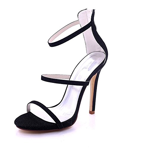 ZHZNVX Zapatos de mujer brillante Glitter Primavera Verano sandalias de bomba básica Stiletto talón Open toe hebilla para Boda,noche Gold Negro Black