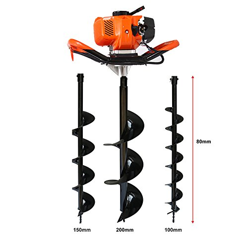 - One Man Earth Auger, 52cc 2-Cycle 2.3 HP Petrol Powered Earth Auger Post Hole Borer Ground Drill Digger + 3 Bits
