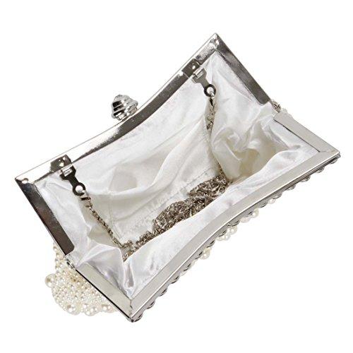 Posteriore Perline Cover bright Strass Donna Bmc Con Sera Fashion Bianco Da Ivory Sintetiche Frizione Perle qw0TSXg