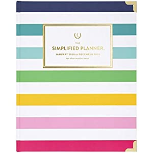 "Simplified by Emily Ley 2020 Weekly & Monthly Planner, 8"" x 10"", Large, Hardcover, Happy Stripe (EL301-903-20)"