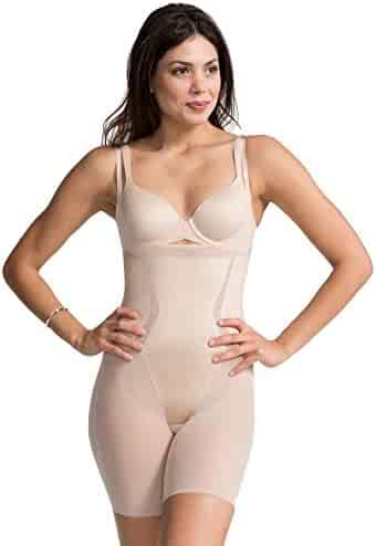 59b9aa96ee5 SPANX FS6815 Haute Contour Open-Bust Mid-Thigh Bodysuit Nude Medium