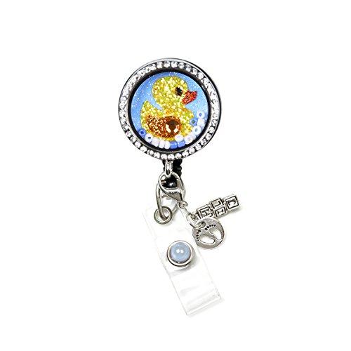 Memory Locket Floating Charms Retractable Reel ID Badge Holder (Ducky Locket Badge)