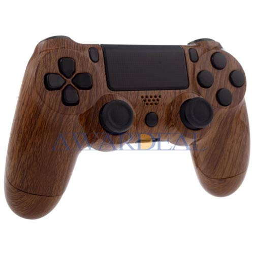 FidgetFidget Random Color Patterned Full Set Shell Buttons Replacement Mod for Dualshock 4 PS4 Controller Wood Grain ()
