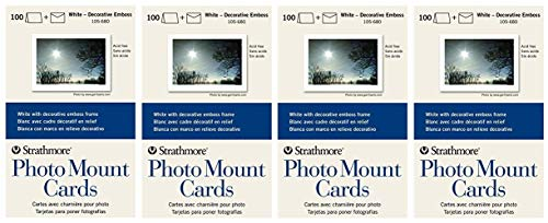 - Strathmore 105-680 Photo Mount Cards, White Decorative Embossed Border, 100 Cards & Envelopes (4-(Pack))
