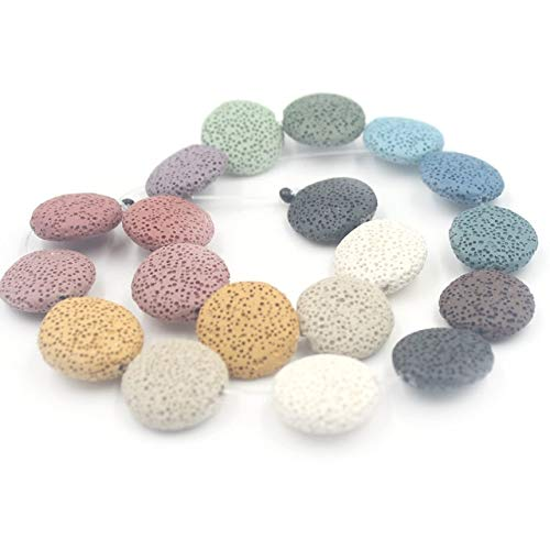 Calvas 20mm 27mm Colorful Flat Round Lava Beads Coin Shape Volcanic Rock Loose Bead Jewelry Bracelet Making DIY 15inch - (Color: 20mm)
