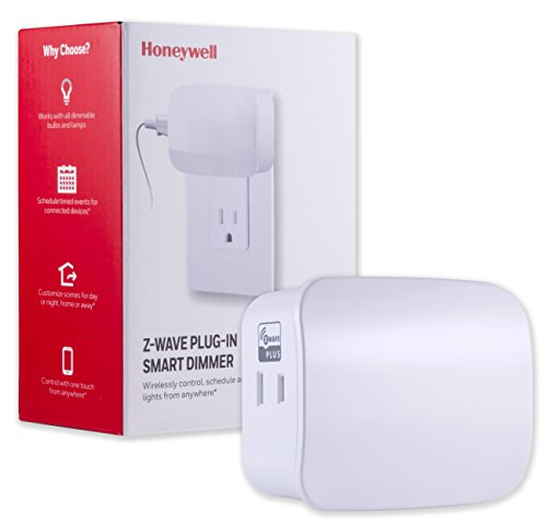 Honeywell Z-Wave Plus Smart Light Dimmer Switch, Single Polarized Outlet Plug-In | Built-In Repeater Range Extender | ZWave Hub Required - SmartThings, Wink, and Alexa Compatible, 39336