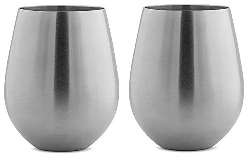 Stainless Steel Stemless Wine Glasses by Avito - 12 oz. and Shatterproof - BPA Free Healthy Choice - Set of 2 - Best Value by Avito