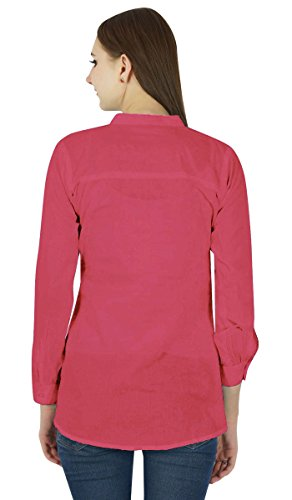 Camiseta de algodón mujeres de Sundress Boho Use ropa del verano del vestido de la túnica ocasional Rosa oscuro
