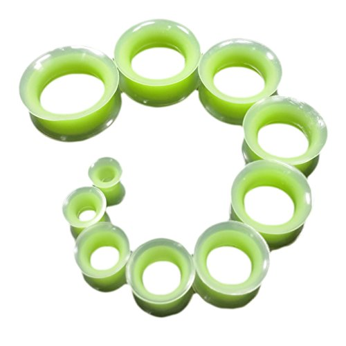30 Mm Neon Green (PAIR 6g-30mm Neon Green Eyelet Silicone Tunnels Plugs Gauges (11/16