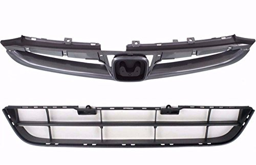 Upper 4 Piece Grille Grill - BB Auto New OE Direct Replacement Upper & Lower Front Grille Grill Grilles 2 piece set Replacement for 2006-2007 Honda Accord Sedan 4 door