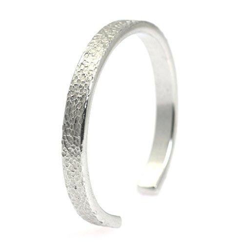 7mm High Polish Bangle Bracelet (7mm Thin Texturized Aluminum Silver Tone Cuff Bracelet By John S Brana Handmade Jewelry Hypoallergenic (7 Inches))
