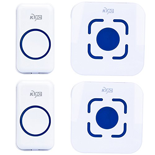 KMC Wireless Doorbell Waterproof, 1000 Feet Operating, 2 plug-in without battery receiver and 2 remote button transmitter, ringing time more than 50 times (white)