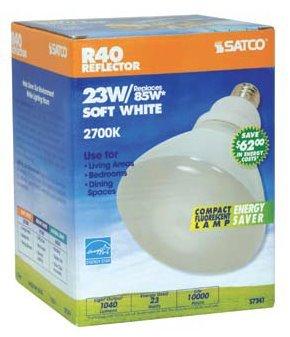 6 Pack Satco S7241 23 Watt R40 2700K Compact Fluorescent Indoor Reflector Light Bulb (85 Watt Replacement)