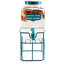 Circleware 69135 Chalkboard Mini Yorkshire Mason Jar Glass Beverage Drink Dispenser with Aqua Me Spout and Lid, Glassware for Water, Iced Tea Kombucha, Punch and All Type of Cold 1 Gal