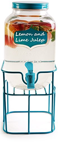 Circleware 69135 Chalkboard Mini Yorkshire Mason Jar Glass Beverage Dispenser with Aqua Me Spout & Lid, Glassware for Water, Iced Tea Kombucha, Punch and all type of Cold Drinks, 1 Gal. ()