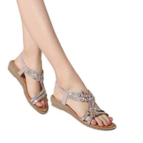 Amlaiworld Women Walking Sandals Summer Bohemia Sweet Beaded Sandals Comfortable Flat Beach Water Sandals Pink