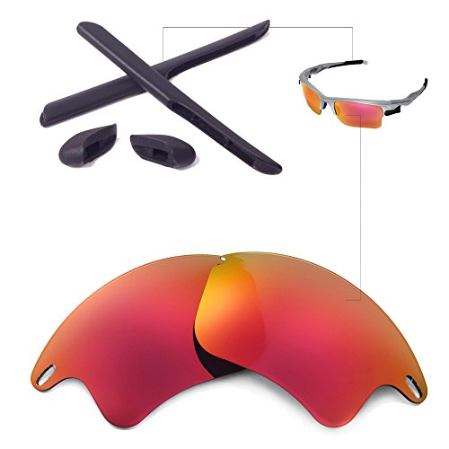Walleva Replacement Lenses Or Lenses/Rubber for Oakley Fast Jacket XL Sunglasses - 26 Options Available (Fire Red Polarized Lenses + Black - Fire Lenses