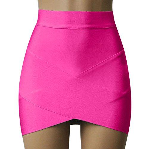 Jupe Irrgulier Bodycon Hanche Mini Sexy Courte Rose Femme Crois Haute Moulante Taille laamei Package Fonc 1pc zwqI00