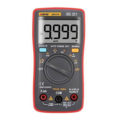 Alloet AN8008 True-RMS Digital Multimeter Square Wave Voltage Ammeter MAX Display 9999 Counts Auto/Manual Ranges True RMS