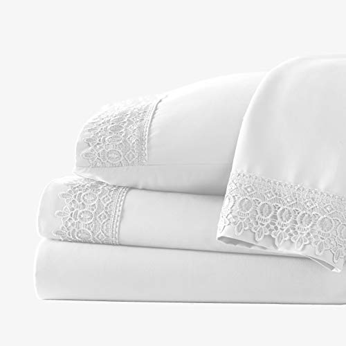 Southshore Fine Linens 4-Piece 21 Inch Deep Pocket Sheet Set with Beautiful Lace - White - Queen