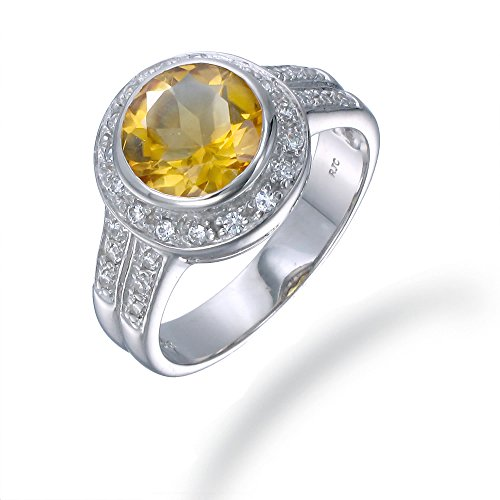 Sterling Silver Citrine Ring (1.70 CT) In Size 9