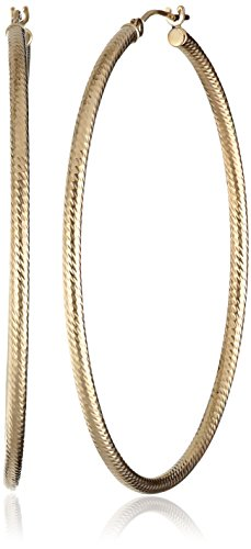 Richline 14k Yellow Gold Diagonal Diamond-Cut Hoop Earrings
