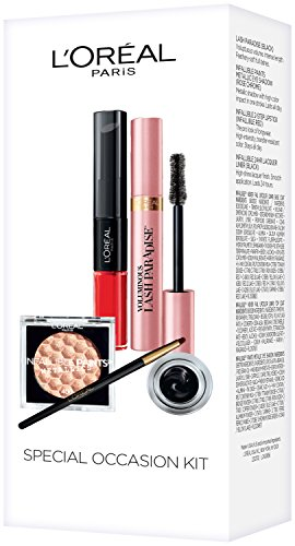 (L'Oreal Paris Makeup Gift Set, Infallible Metallic Eye Shadow, Lash Paradise Mascara, Infallible Lacquer Eyeliner, Infallible Pro Last 2 Step Lipstick, 1 Kit)